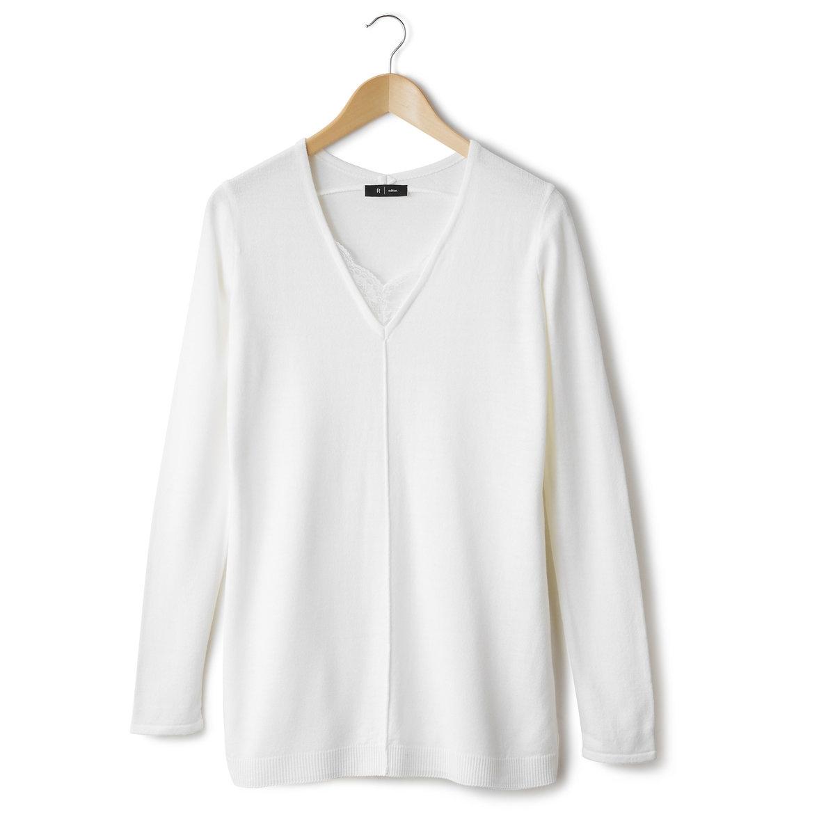 Пуловер-туника с V-образным вырезом из тонкого трикотажа