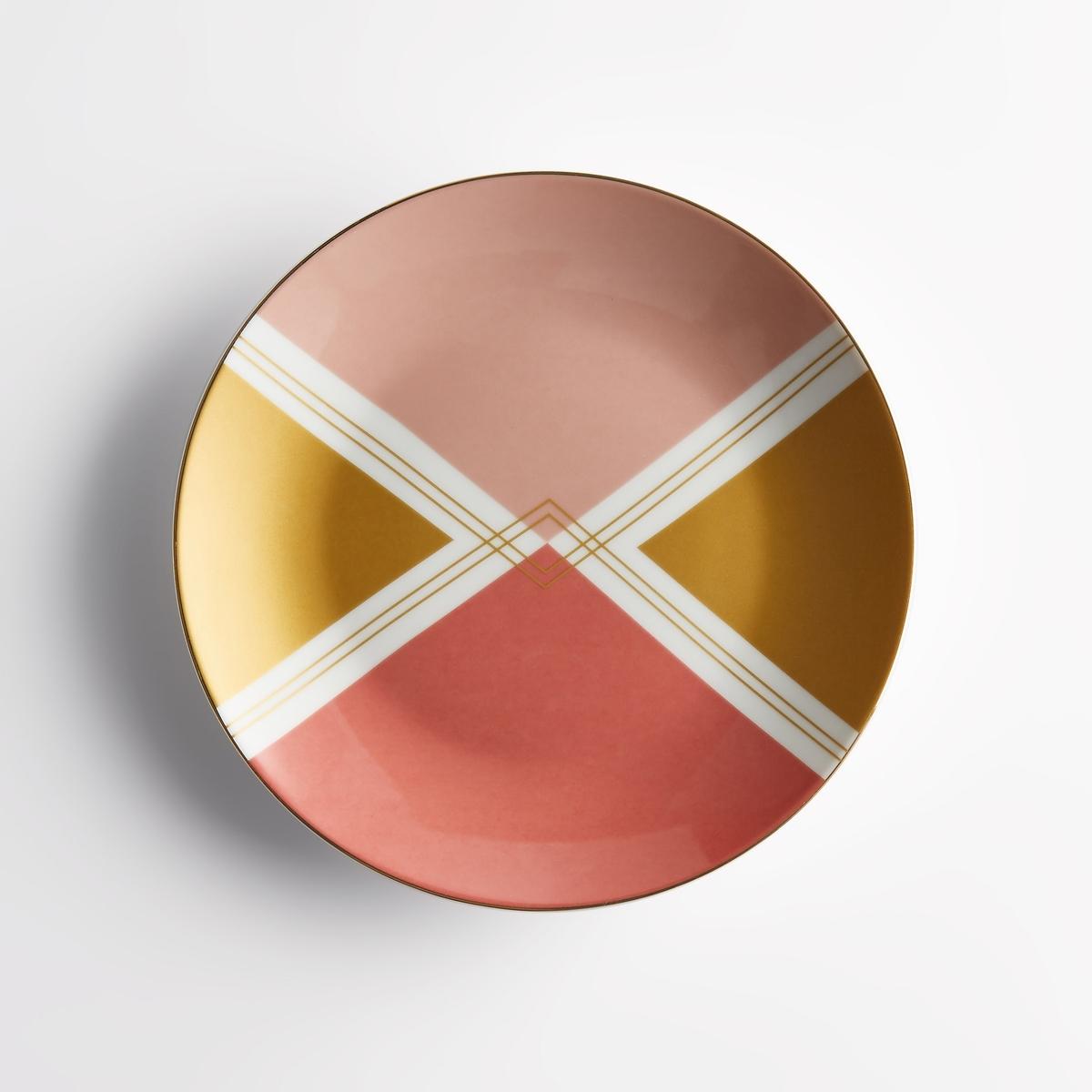 Комплект из 4 десертных тарелок с рисунком, PalatoХарактеристики 4 десертных тарелок с рисунком Palato :Фарфор.С рисунком.Кайма золотистого цвета.Размеры 4 десертных тарелок с рисунком Palato :Диаметр. 20,5 см.Другие тарелки и предметы декора стола вы можете найти на сайте laredoute.ru<br><br>Цвет: набивной рисунок