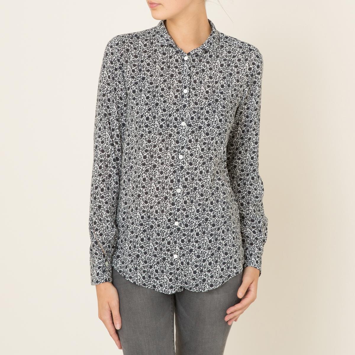 Рубашка женская CLONEYРубашка HARTFORD, модель CLONEY. Тонкий отложной воротник. Длинные рукава с застежкой на пуговицы. Шлица сзади. Закругленный низ. Сплошной цветочный рисунок. Легкий и струящийся покрой .Состав &amp; Детали   Материал : 100% Вискоза    Марка : HARTFORD<br><br>Цвет: белый/ серый<br>Размер: размерXL