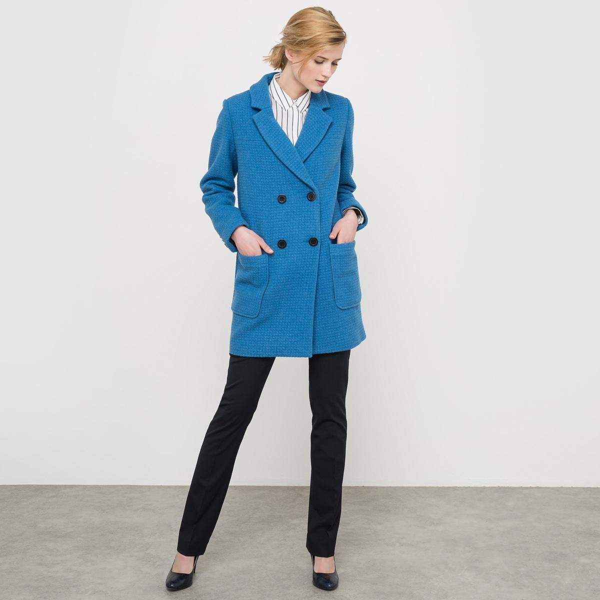 Пальто рогожка драповое, 60% шерсти пальто с плетением рогожка