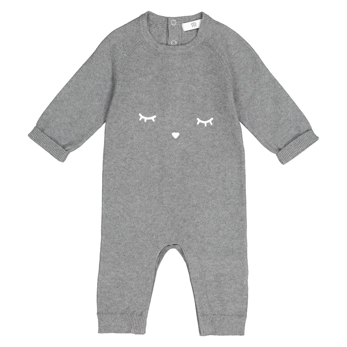 Комбинезон La Redoute С принтом спереди мес 1 год - 74 см серый футболка с принтом 1 мес 4 лет
