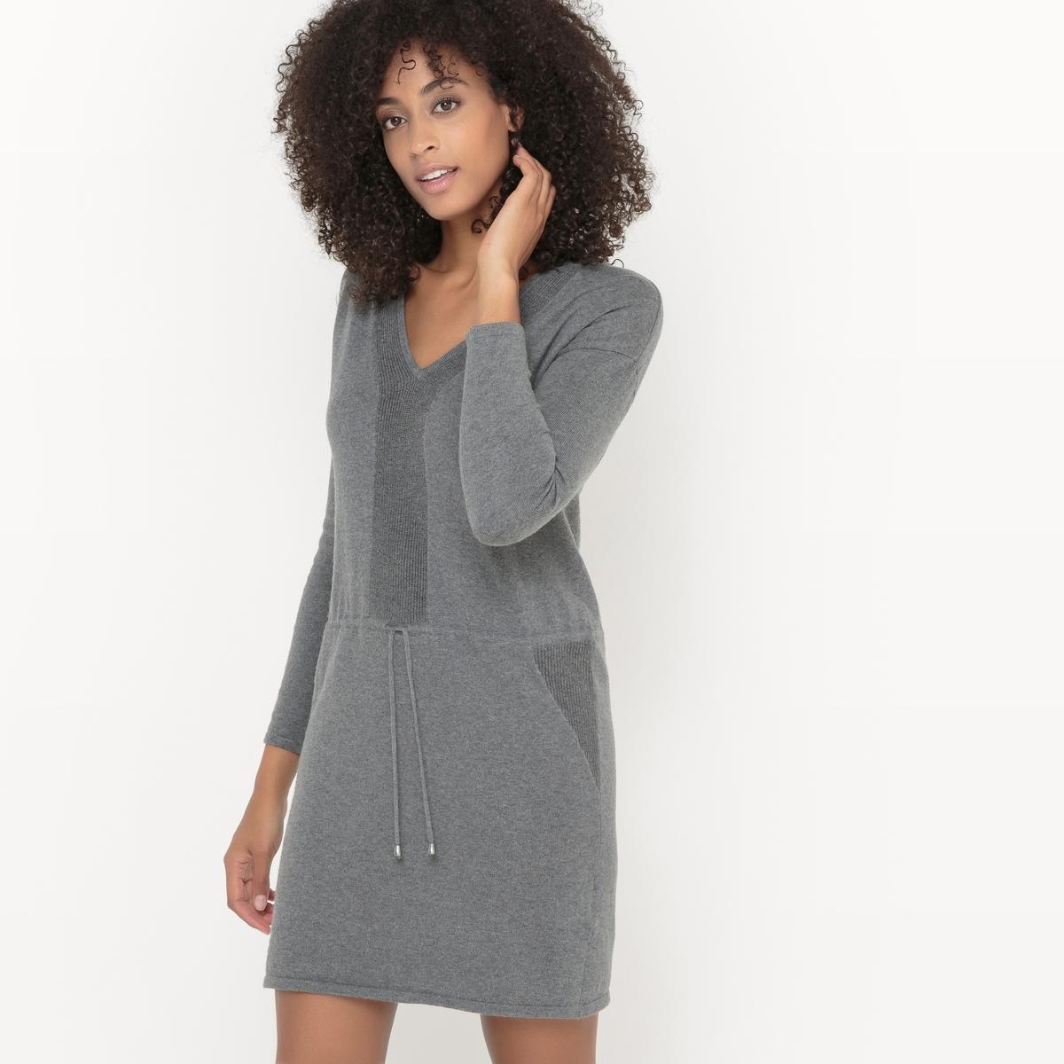Платье-пуловер трикотажное.Трикотажное платье-пуловер из хлопка и шерсти. Длинные рукава. V-образный вырез. Кулиска на талии.    С люрексом. Нежное женственное платье из комбинированного трикотажа. Состав и описаниеМатериалы : 80% хлопка, 20% шерстиМарка : Sud ExpressМодель : ROVERDALEУходСледуйте рекомендациям по уходу, указанным на этикетке изделия.<br><br>Цвет: серый меланж
