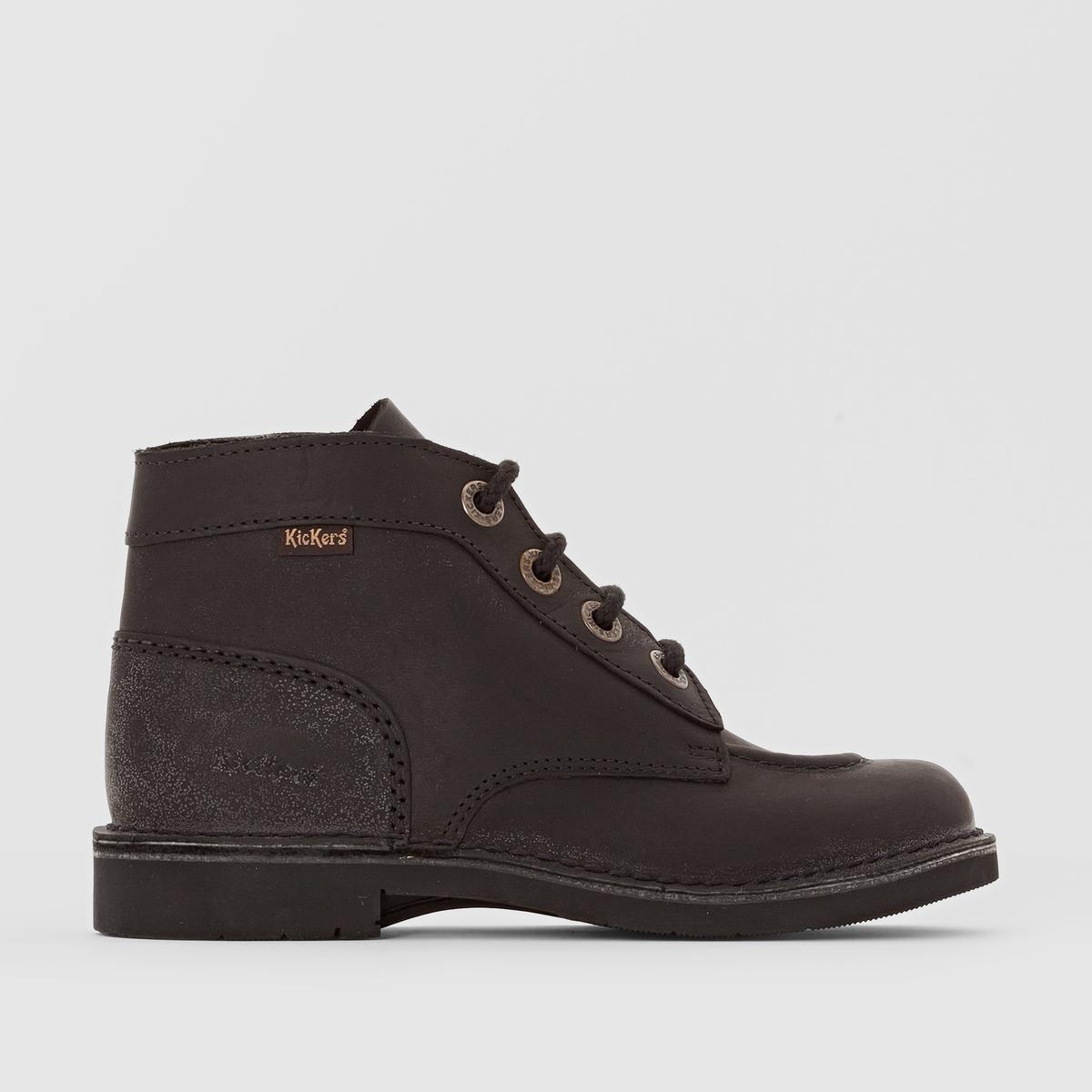 Ботильоны Kick ColПодкладка : без подкладки      Стелька : невыделанная кожа.      Подошва : каучук.     Высота каблука :      Форма каблука : Плоский      Носок : Закругленный.      Застежка : шнуровка.<br><br>Цвет: черный