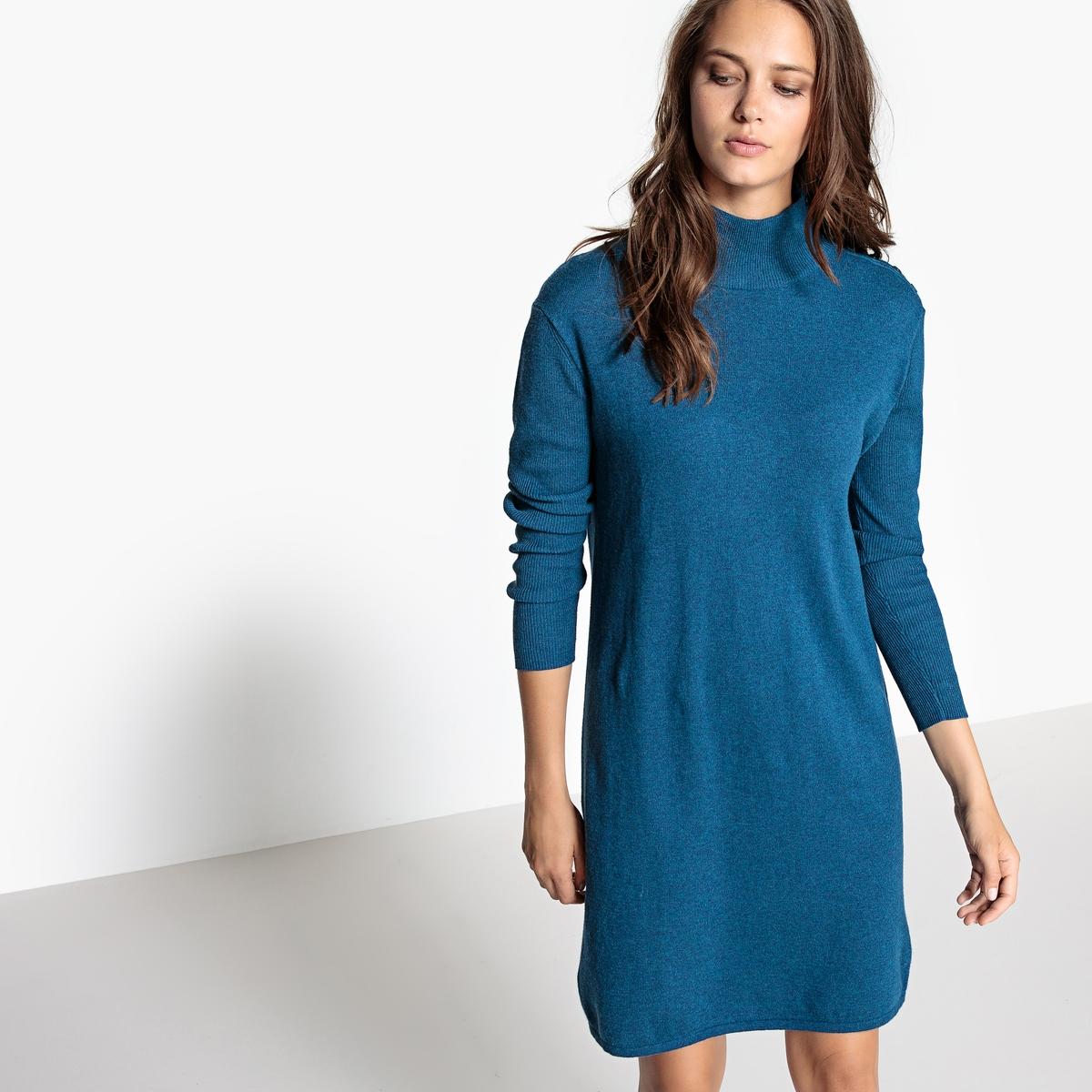 Платье с воротником-отворотом, из кашемира