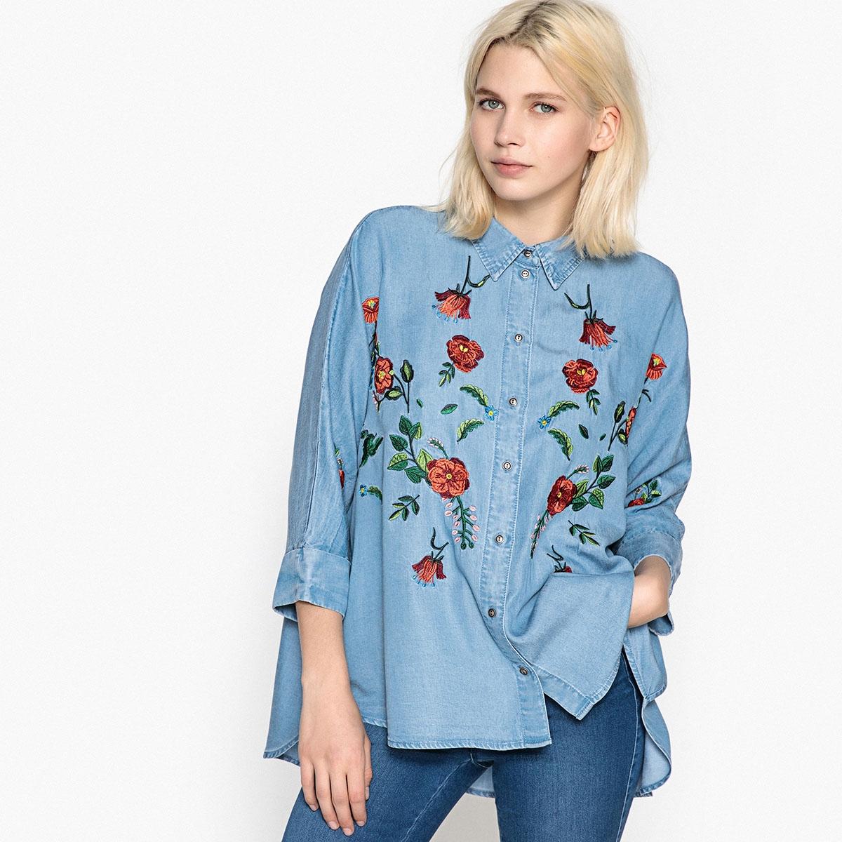 Рубашка прямого покроя с рисунком и воротником-поло рубашка с рисунком и классическим воротником