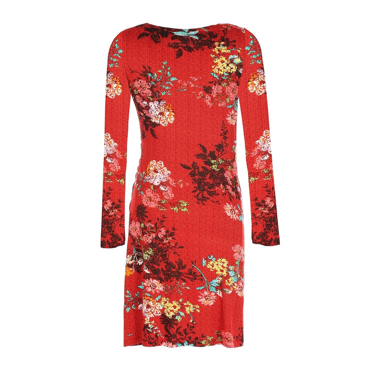 Платье прямого покроя с цветочным рисунком, длина 3/4