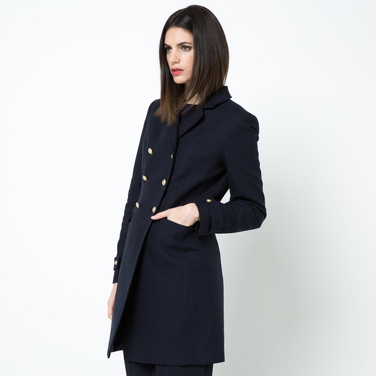 Пальто летнее, 100% хлопкаПланки с пуговицами внизу рукавов. 1 внутренний карман.Шлица сзади.<br><br>Цвет: темно-синий<br>Размер: 34 (FR) - 40 (RUS)