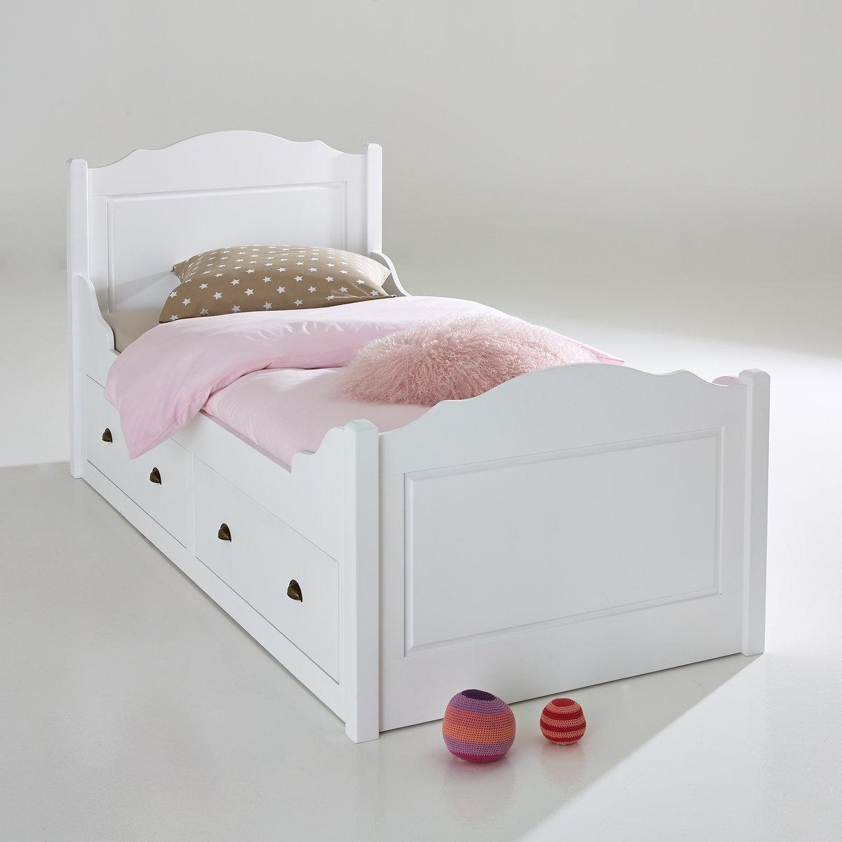 Кровать La Redoute С изогнутыми спинками и ящиками Authentic Style 90 x 190 см белый цены