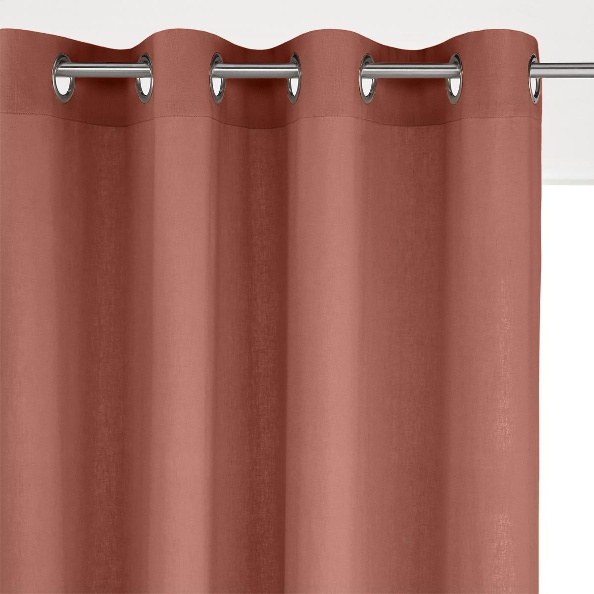 Штора LaRedoute Из льна и вискозы с люверсами Odorie 250 x 135 см каштановый