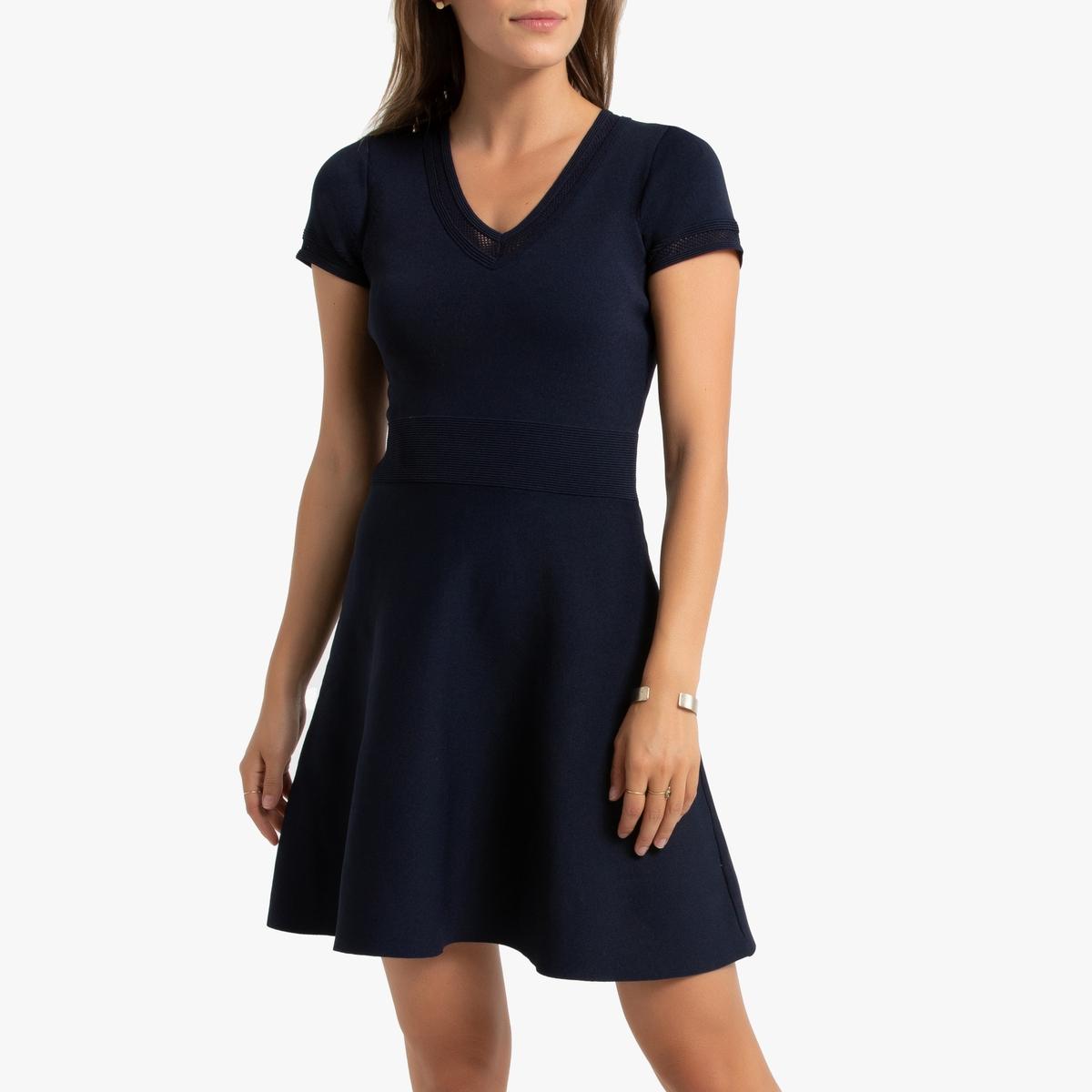 Платье La Redoute Расклешенное с короткими рукавами из трикотажа L синий