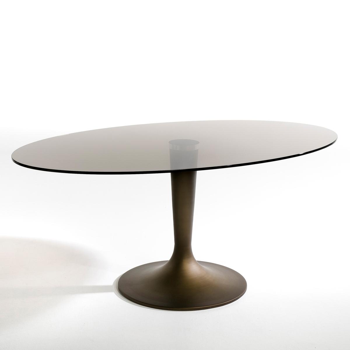 Столик с овальной столешницей из дымчатого стекла, Seona цены онлайн