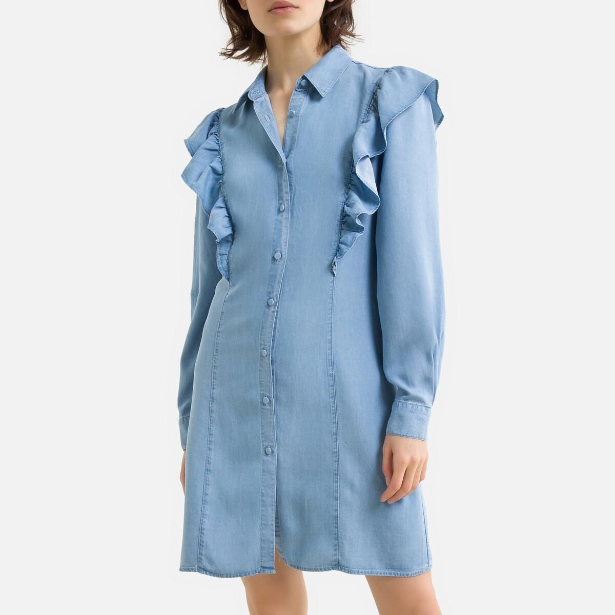 Платье-рубашка LaRedoute С воланами из джинсовой ткани 36 (FR) - 42 (RUS) синий