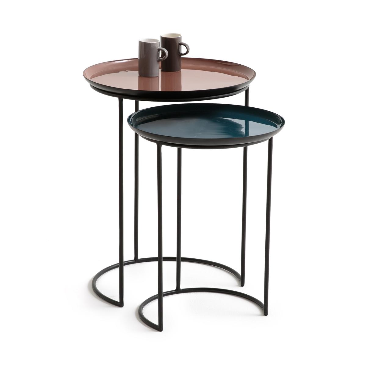 Столик круглый TIVARA (комплект из 2 столиков)Описание:2 столика Tivara. Полувыдвижные, столики задвигаются или выдвигаются в зависимости от Ваших пожеланий. Тумбочки, прикроватные столики или просто низкие столики прекрасно играют с пространством и вписываются в любой интерьер, благодаря свои эмалированным столешницам.Характеристики 2 столиков Tivara : Круглая столешница из эмалированной сталиТонкий каркас из стали, покрытой лакированной эпоксидной чёрной матовой краскойДоставляется в собранном видеВсю коллекцию Tivara Вы можете найти на нашем сайте laredoute.ruРазмеры 2 столиков Tivara :- Малая модель :Диаметр : 35 смВысота : 46 см- Большая модель :Диаметр : 40,5 смВысота : 53 смРазмеры и вес ящика1 упаковкаШ47 x В72 x Г47 см10.5 кг<br><br>Цвет: желтый/серый/черный,черный/ розовый/ синий