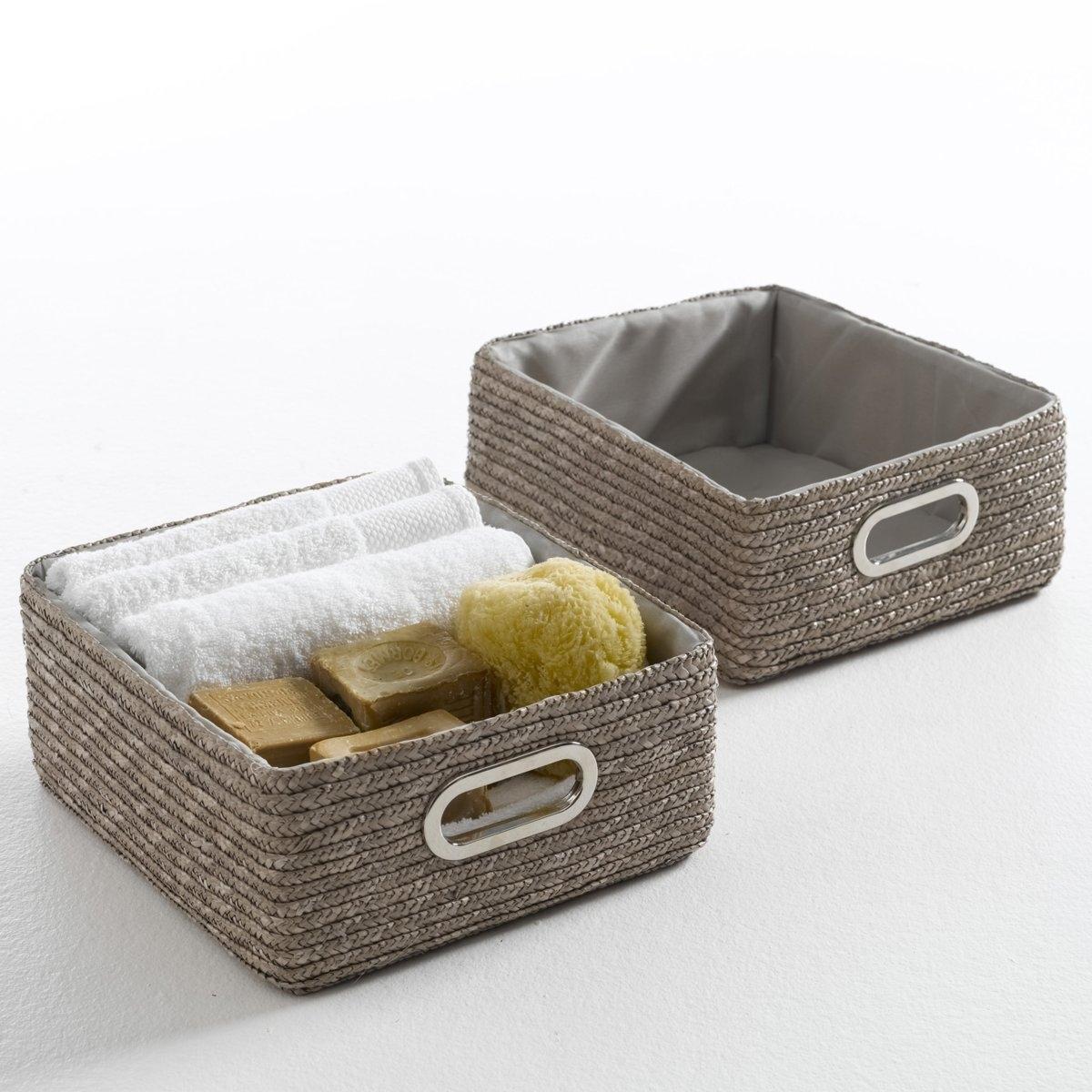 2 корзины для вещей, MajongХарактеристики набора из 2 корзин для хранения вещей MajongСделаны из соломки и металла.Внутренняя подкладка из полиэстера тон в тон.Ищите мебель для ванной на сайте laredoute.ru.ruРазмеры корзин для хранения вещей Majong- Размер. 1 корзины : Д.33 x Ш.13 x В.28 см..<br><br>Цвет: бежевый