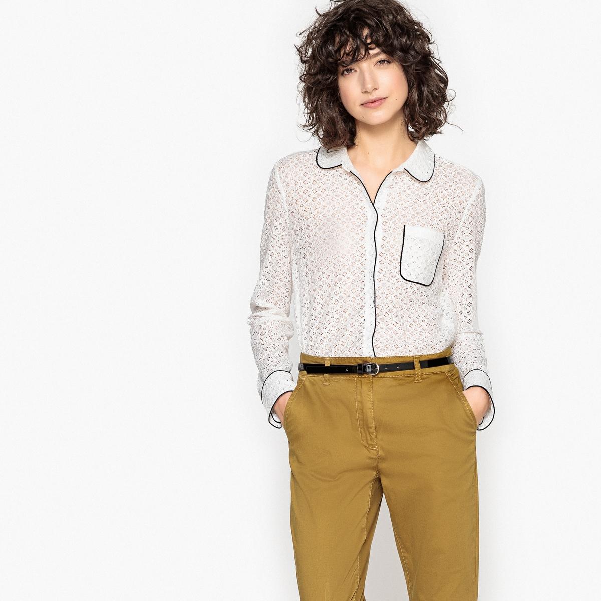 Рубашка из гипюра с отложным воротником и нагрудным карманом