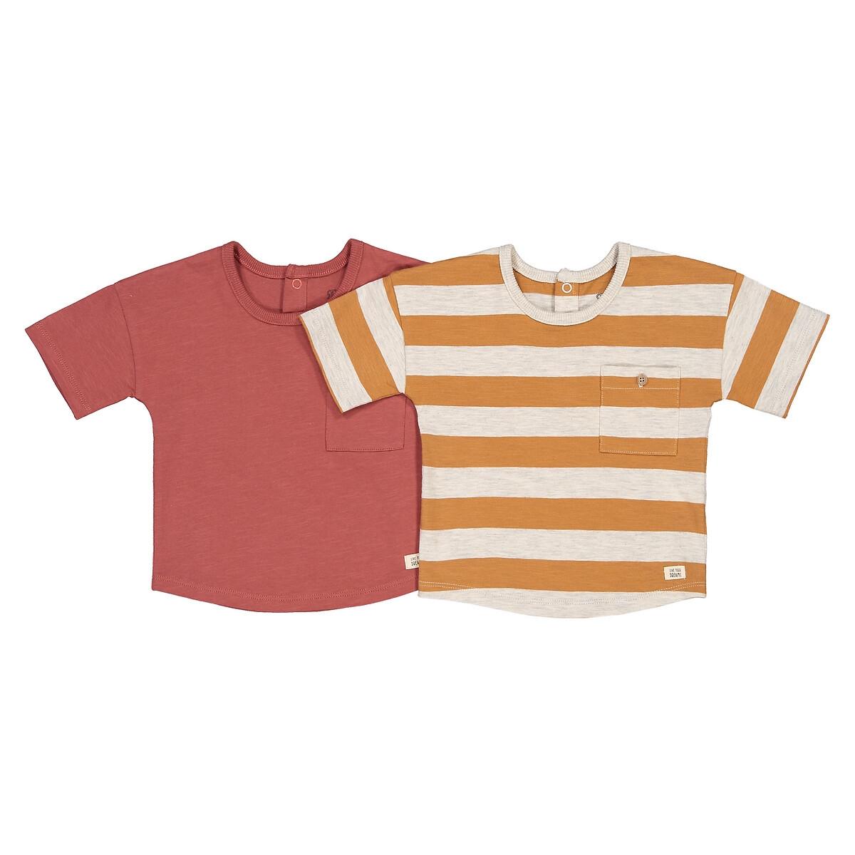 комплект из 3 футболок с laredoute длинными рукавами из биохлопка 3 мес 4 года 6 мес 67 см разноцветный Комплект из 2 футболок из LaRedoute Биохлопка 1 мес - 4 года 3 года - 94 см красный