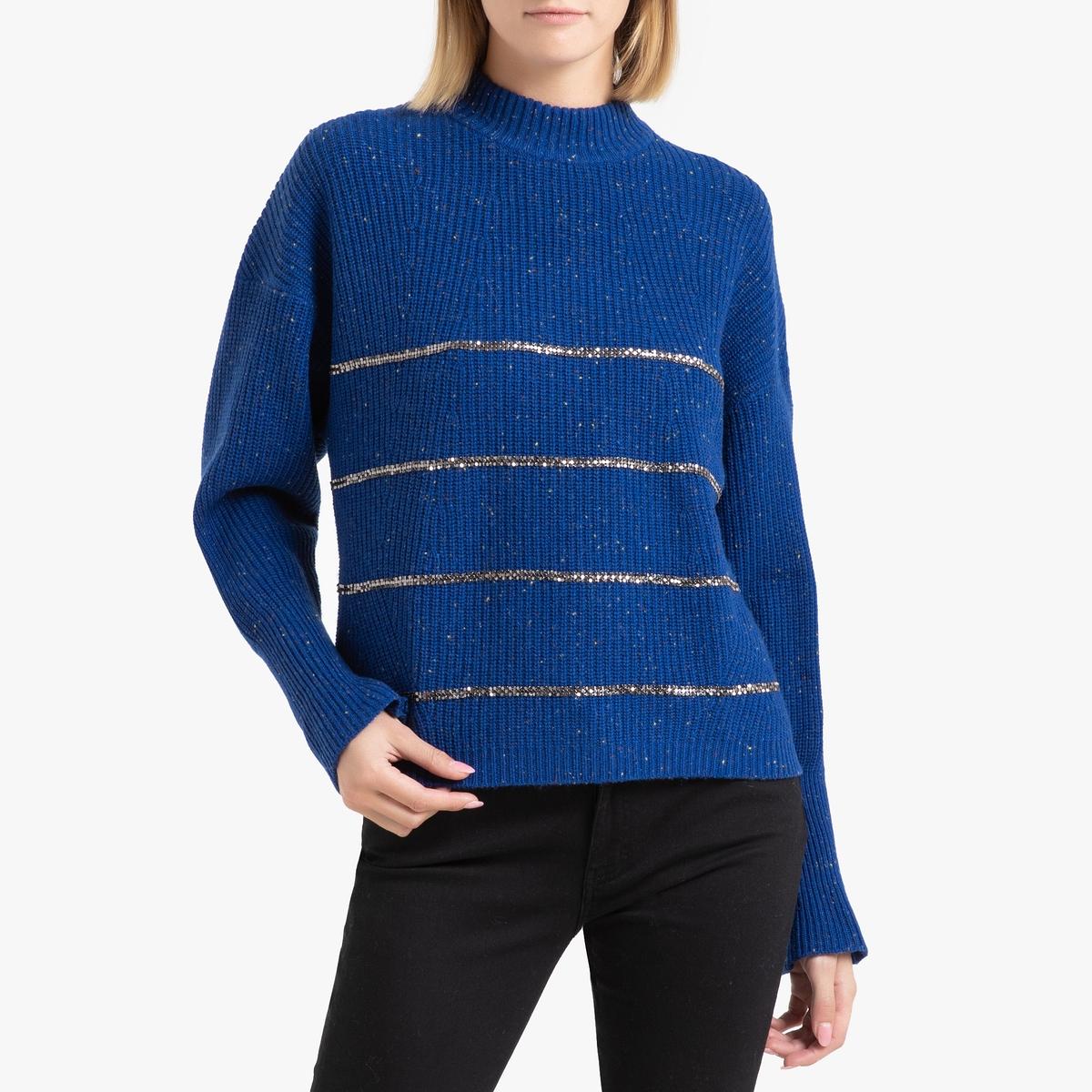Пуловер La Redoute С воротником-стойкой из тонкого блестящего трикотажа 2(M) синий пуловер из блестящего трикотажа 3 12 лет