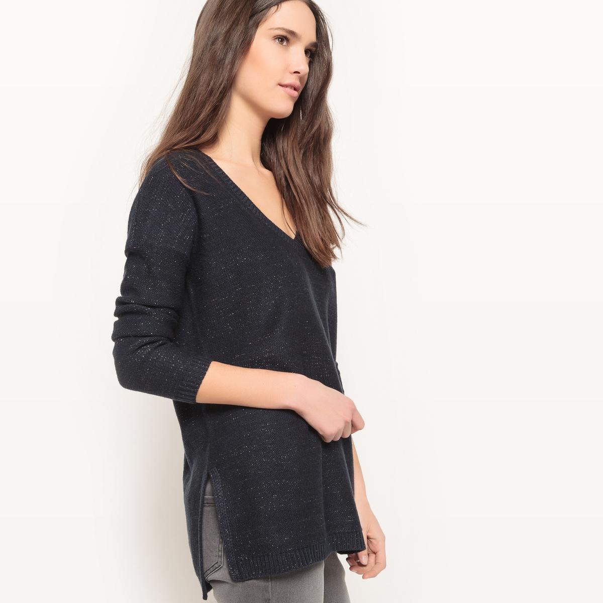 Пуловер с V-образным вырезом и блестящим эффектом