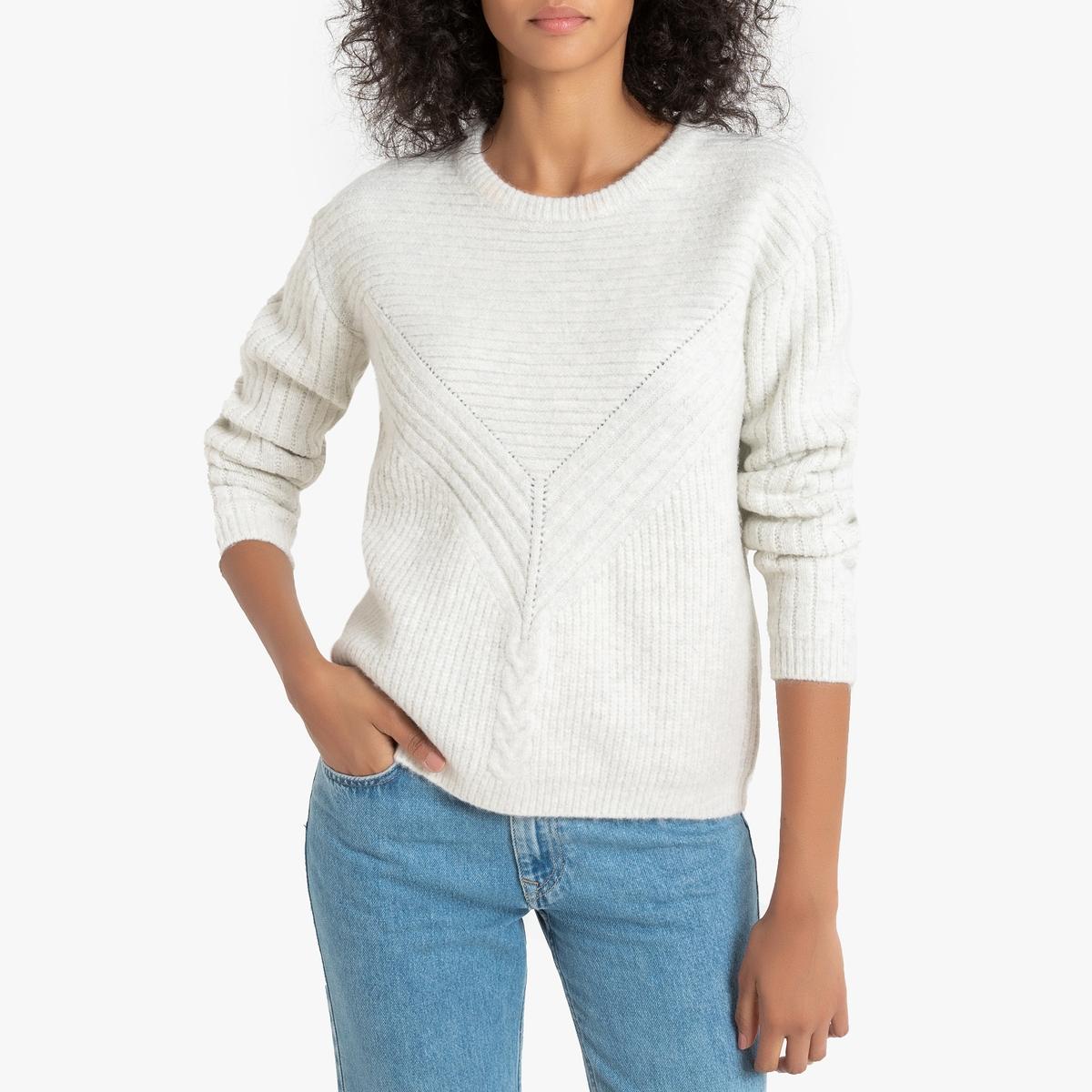 Пуловер La Redoute Из плотного трикотажа с круглым вырезом Maps L белый