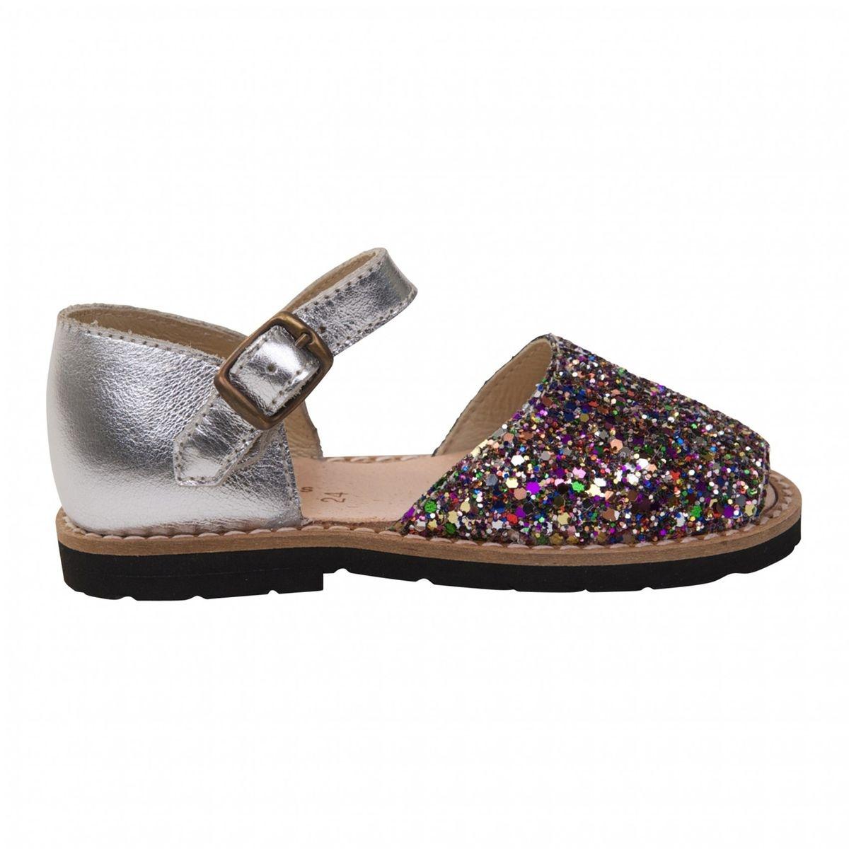 Sandales enfant argent à paillettes multicolores