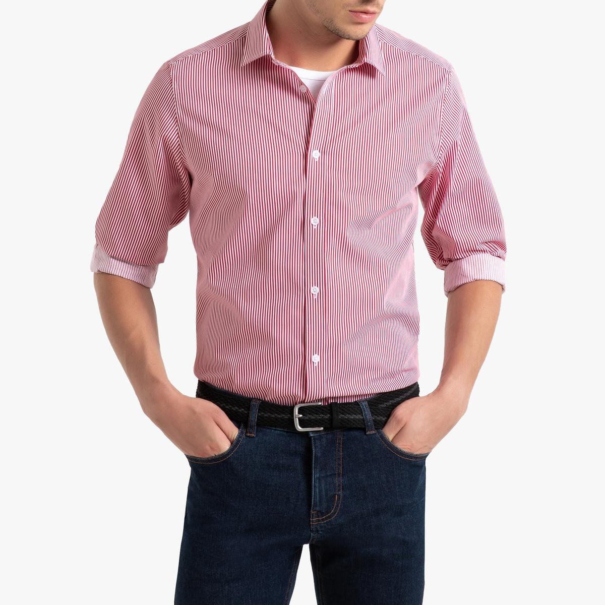 Рубашка La Redoute Узкого покроя в полоску с длинными рукавами 45/46 красный рубашка la redoute прямого покроя в клетку с длинными рукавами 45 46 серый