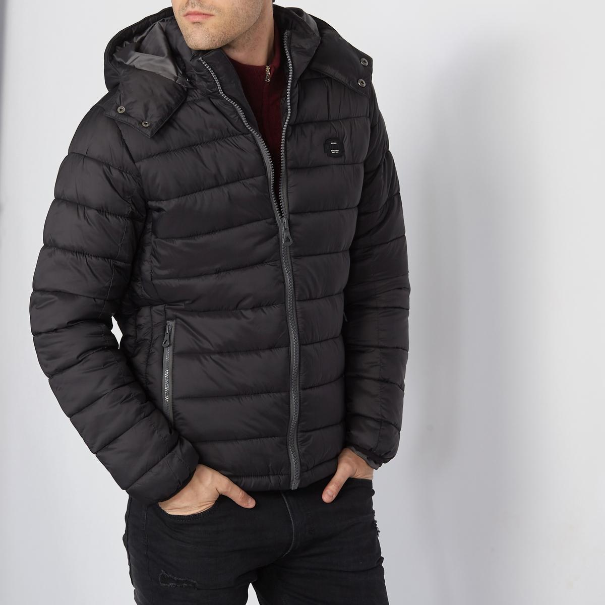 Стеганая куртка с капюшономСостав и описаниеМатериал: 100% полиамидаМарка:  KAPORAL<br><br>Цвет: черный<br>Размер: L