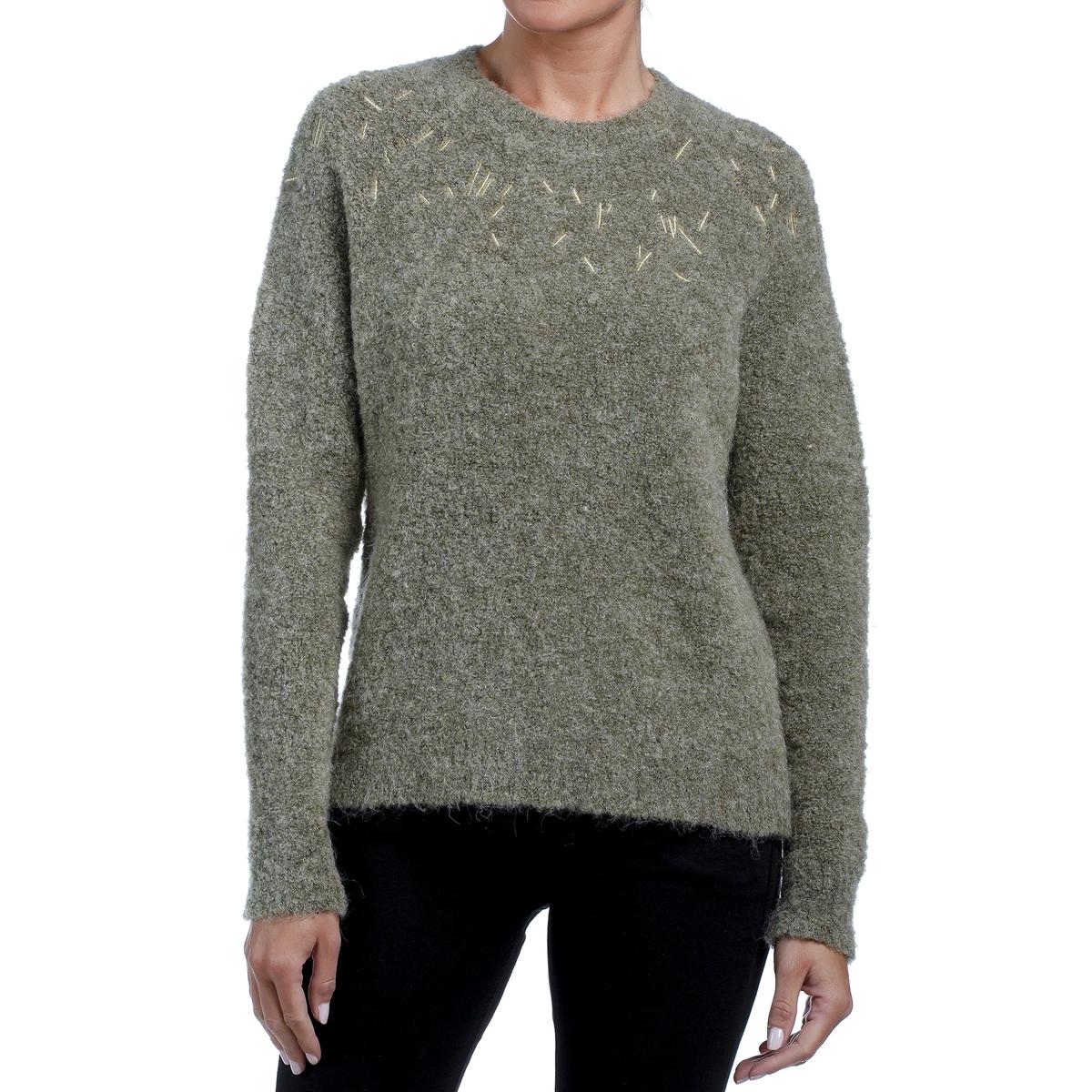 Пуловер La Redoute С воротником-стойкой и вышивкой на вырезе XS зеленый