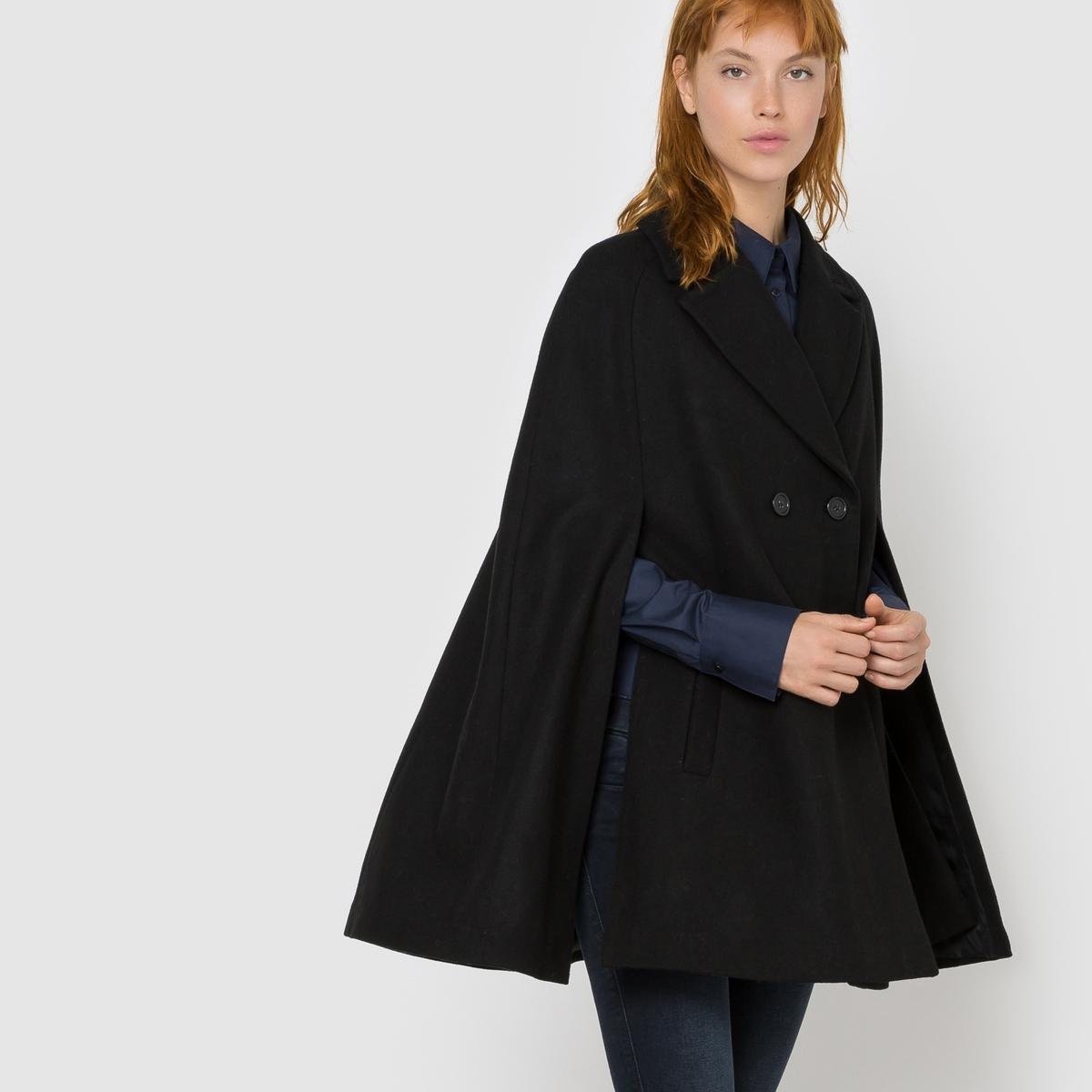 КейпКейп, новое пальто в этом сезоне ! Пиджачный воротник. Застежка на пуговицы. 2 прорезных кармана по бокам. Вышивка золотистый бантик с внутренней стороны на спинке вверху  .Состав и описание : Материал 38% шерсти, 28% акрила, 27% полиэстера, 4% хлопка, 3% полиамидаПодкладка: 100% полиэстераДлина 85 см Бренд: Mademoiselle R Уход :Сухая чистка..Машинная сушка запрещена.Гладить на низкой температуре.<br><br>Цвет: терракота,черный<br>Размер: 36 (FR) - 42 (RUS).36 (FR) - 42 (RUS).38 (FR) - 44 (RUS)