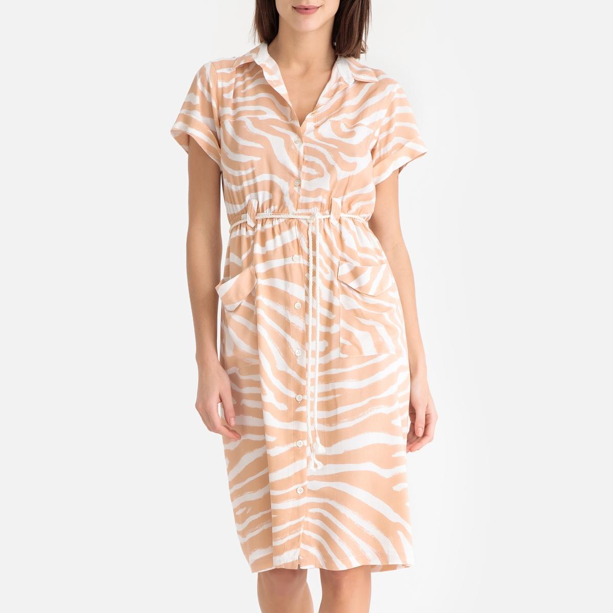 Платье La Redoute Летнее с принтом и короткими рукавами S розовый
