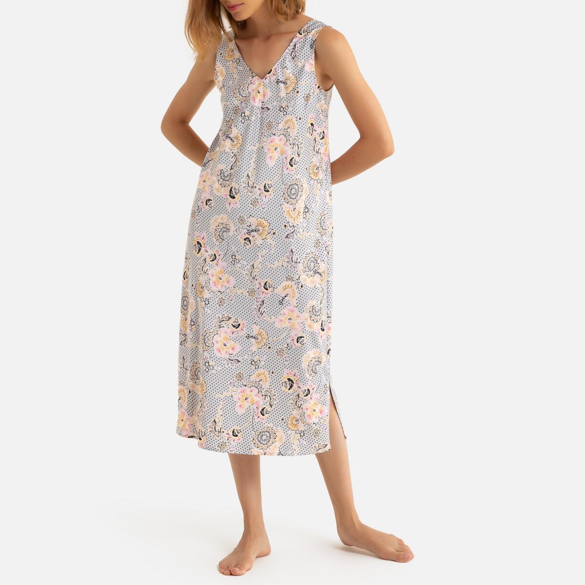 Camisa de dormir de cavas, estampado floral