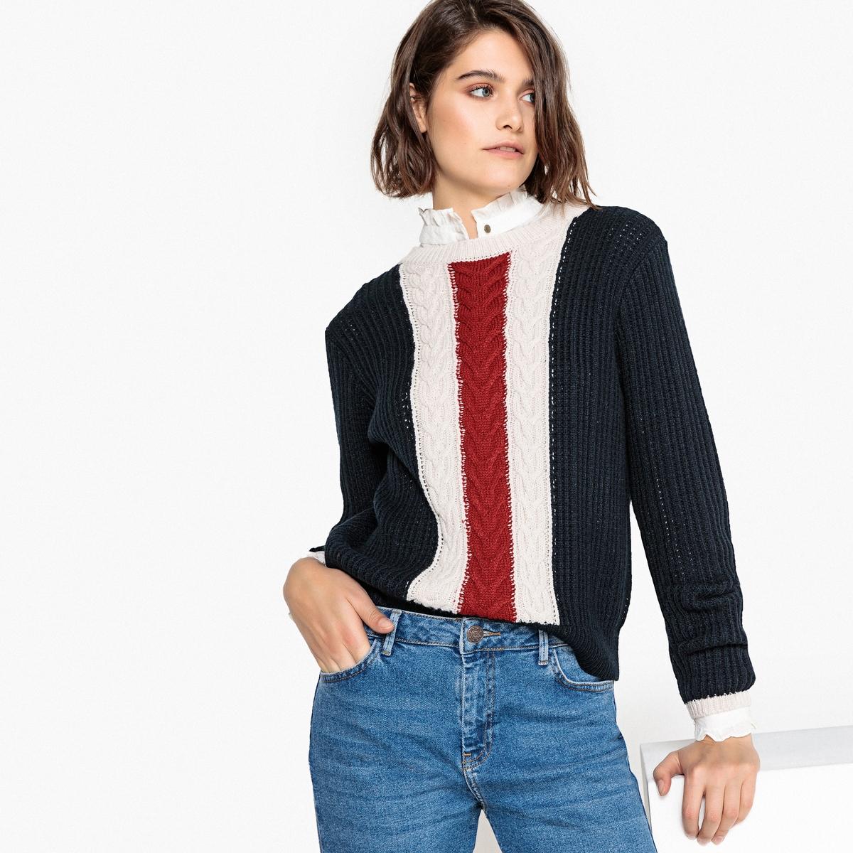 Trójkolorowy sweter z okrągłym dekoltem, wełna