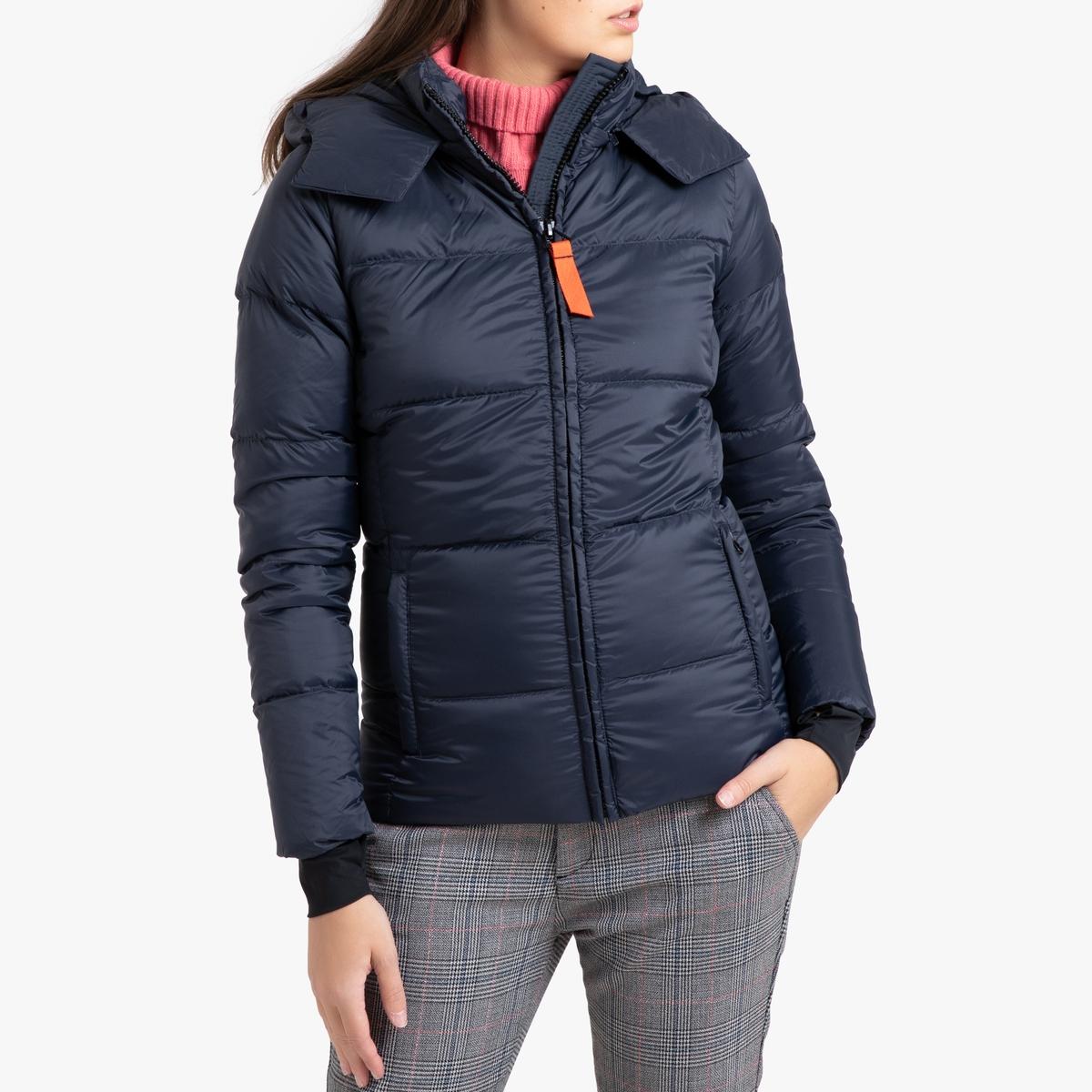 цена Куртка La Redoute Стеганая короткая с капюшоном OLGA MAT 3(L) синий в интернет-магазинах