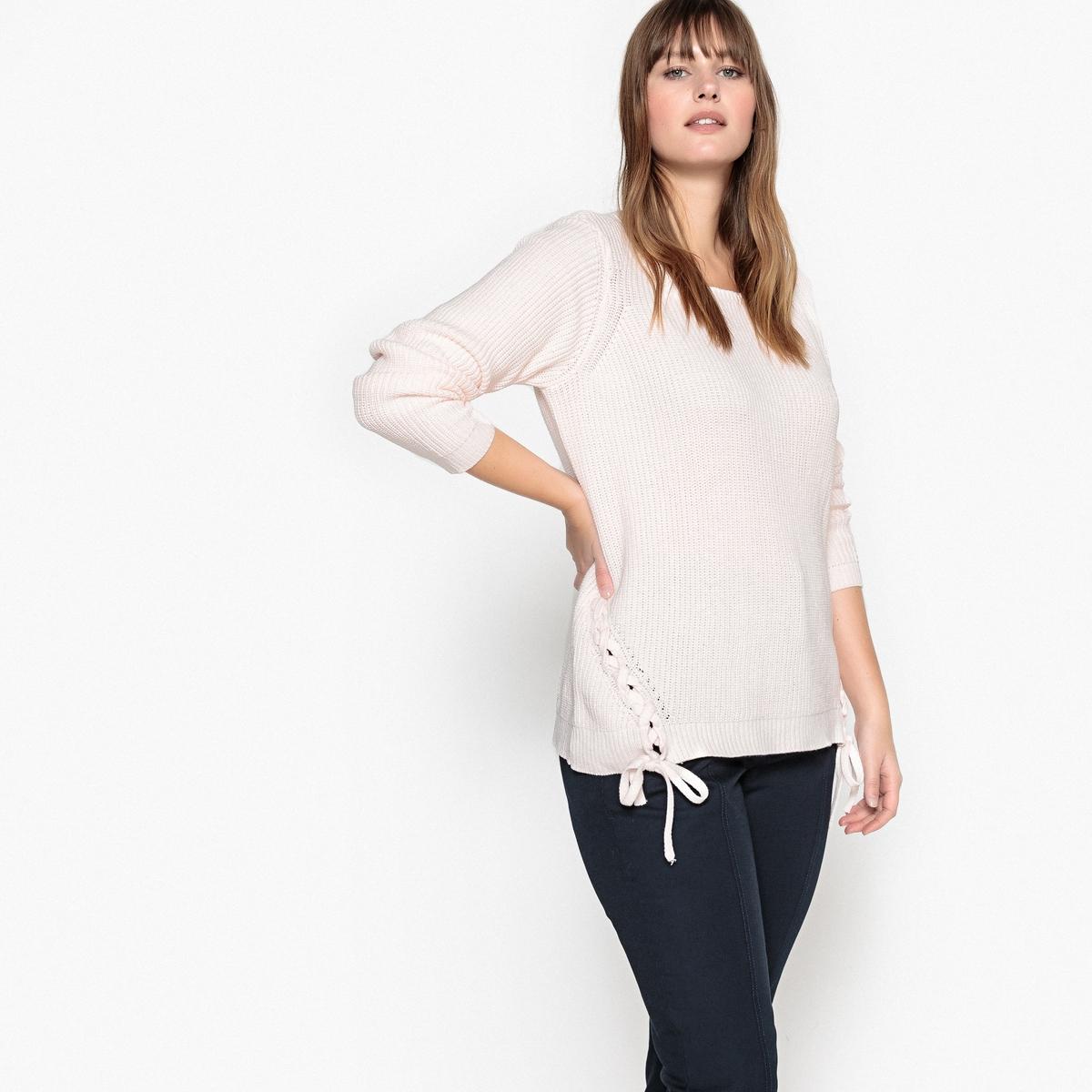 Sweter z okrągłym dekoltem i sznurowaniem z boku