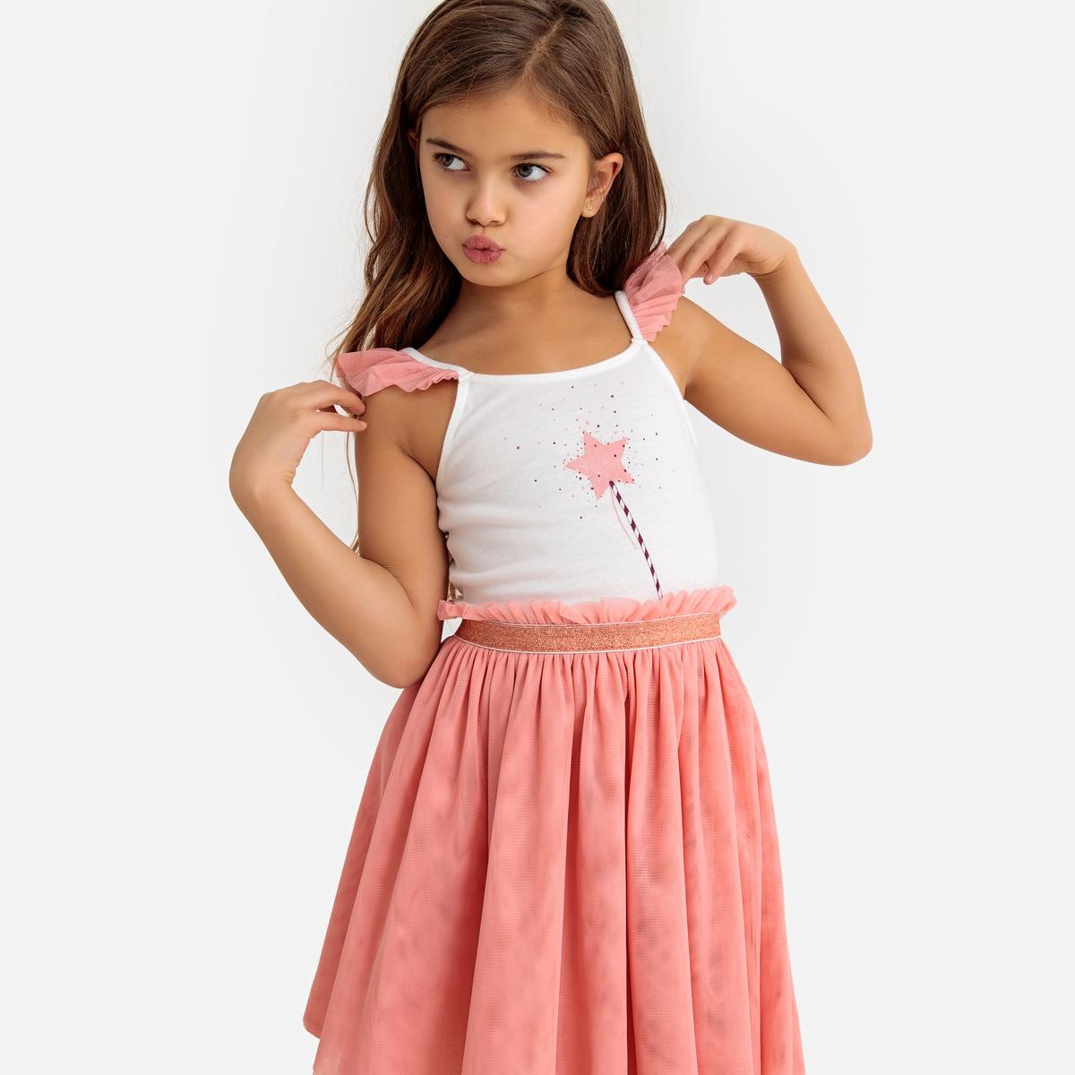 Платье La Redoute Без рукавов из хлопка и тюля 3 года - 94 см розовый платье la redoute из мольтона в полоску и тюля мес года 3 года 94 см розовый