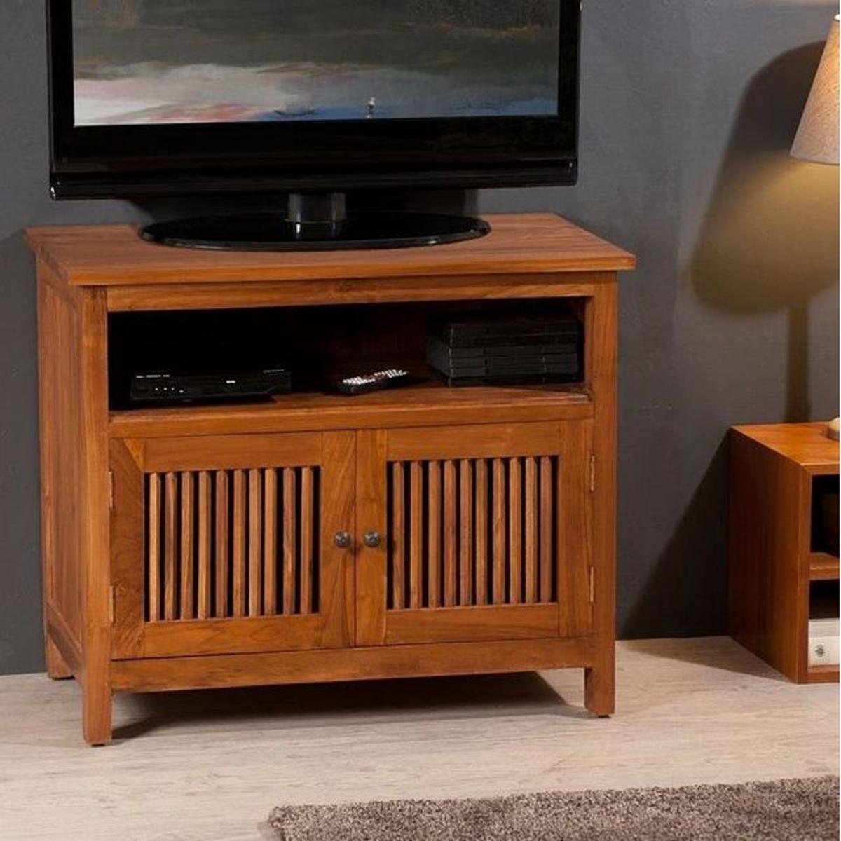 Meuble TV 80cm bois de teck 2 portes 1 niche style colonial BISHO