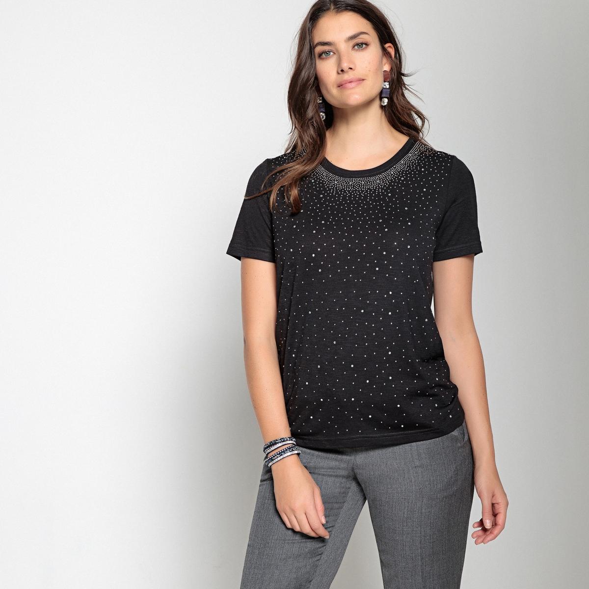 Imagen secundaria de producto de Camiseta con cuello redondo y fantasía de estrás - Anne weyburn