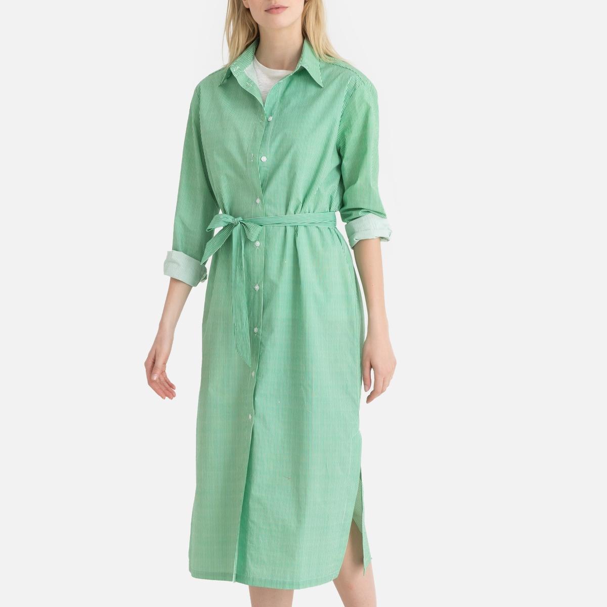 Платье La Redoute Прямое с длинными рукавами 34 (FR) - 40 (RUS) зеленый