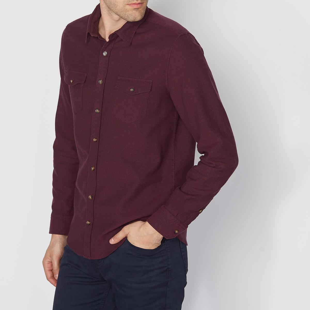 Рубашка с длинными рукавами, стандартный покрой из фланелиРубашка с длинными рукавами. Стандартный покрой из фланели, классический воротник со свободными кончиками .  Нагрудные накладные карманы. Застёжка спереди и манжеты на пуговицах. Закругленный низ. Состав &amp; ДеталиМатериал : 76% хлопок, 22% полиэстер, 2% эластанМарка : R edition.УходМашинная стирка при 30 °ССтирать вместе с одеждой подобных цветовГладить с изнаночной стороны.<br><br>Цвет: бордовый,серый,темно-синий<br>Размер: 39/40.39/40.43/44