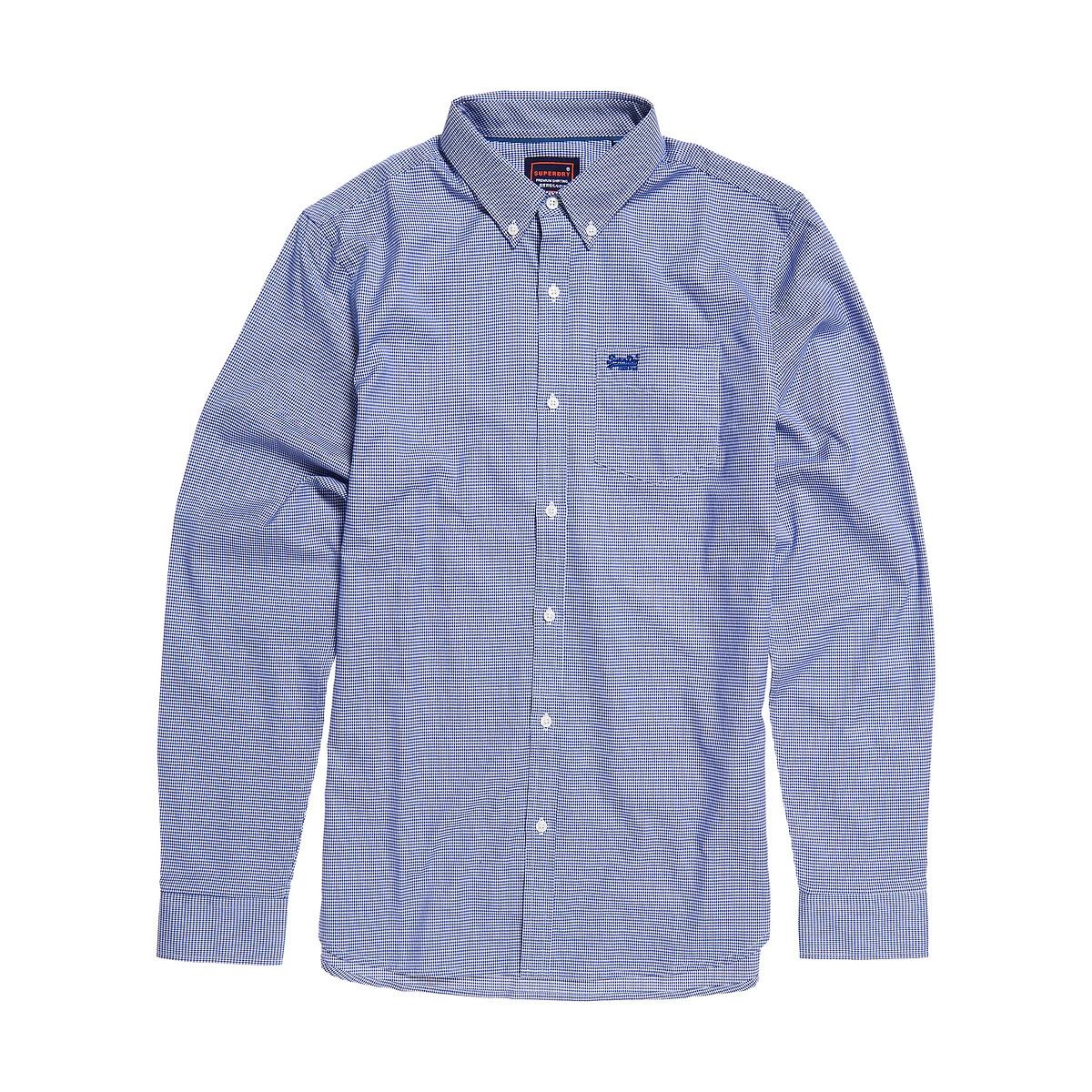 Camisa recta de popelina a cuadros Gingham
