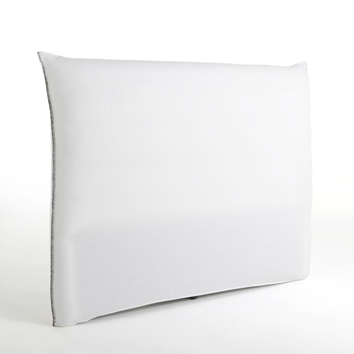 Чехол LaRedoute Для изголовья кровати льняной с отделкой петельным швом Mereson 140 см белый