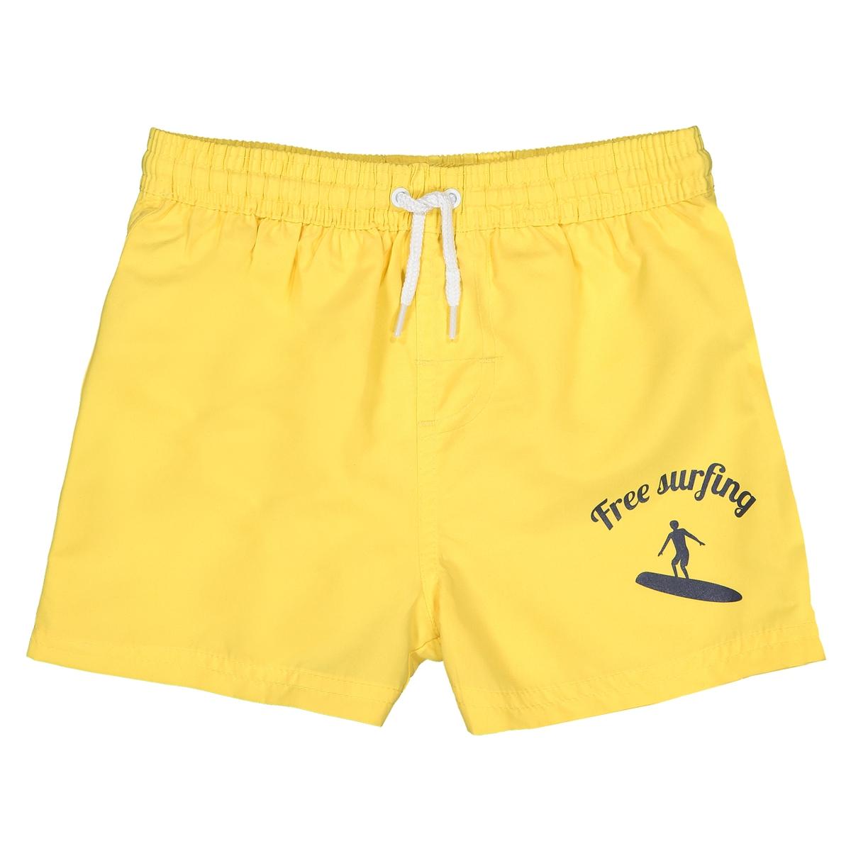 Шорты La Redoute Плавательные с принтом спереди 5 лет - 108 см желтый шорты la redoute плавательные с принтом крабы 8 лет 126 см синий