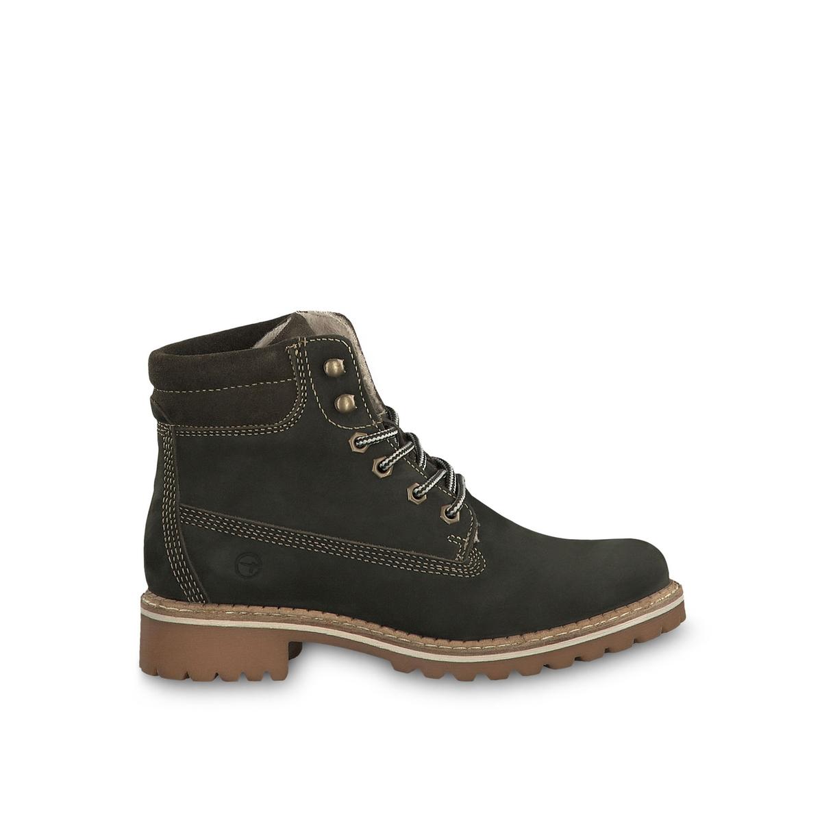 Ботильоны La Redoute Кожаные на шнуровке Catser 38 зеленый цены онлайн