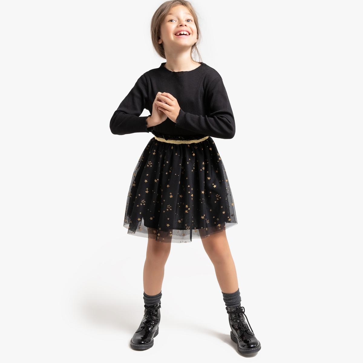 Платье La Redoute С длинными рукавами и рисунком звезды 8 лет - 126 см черный цены