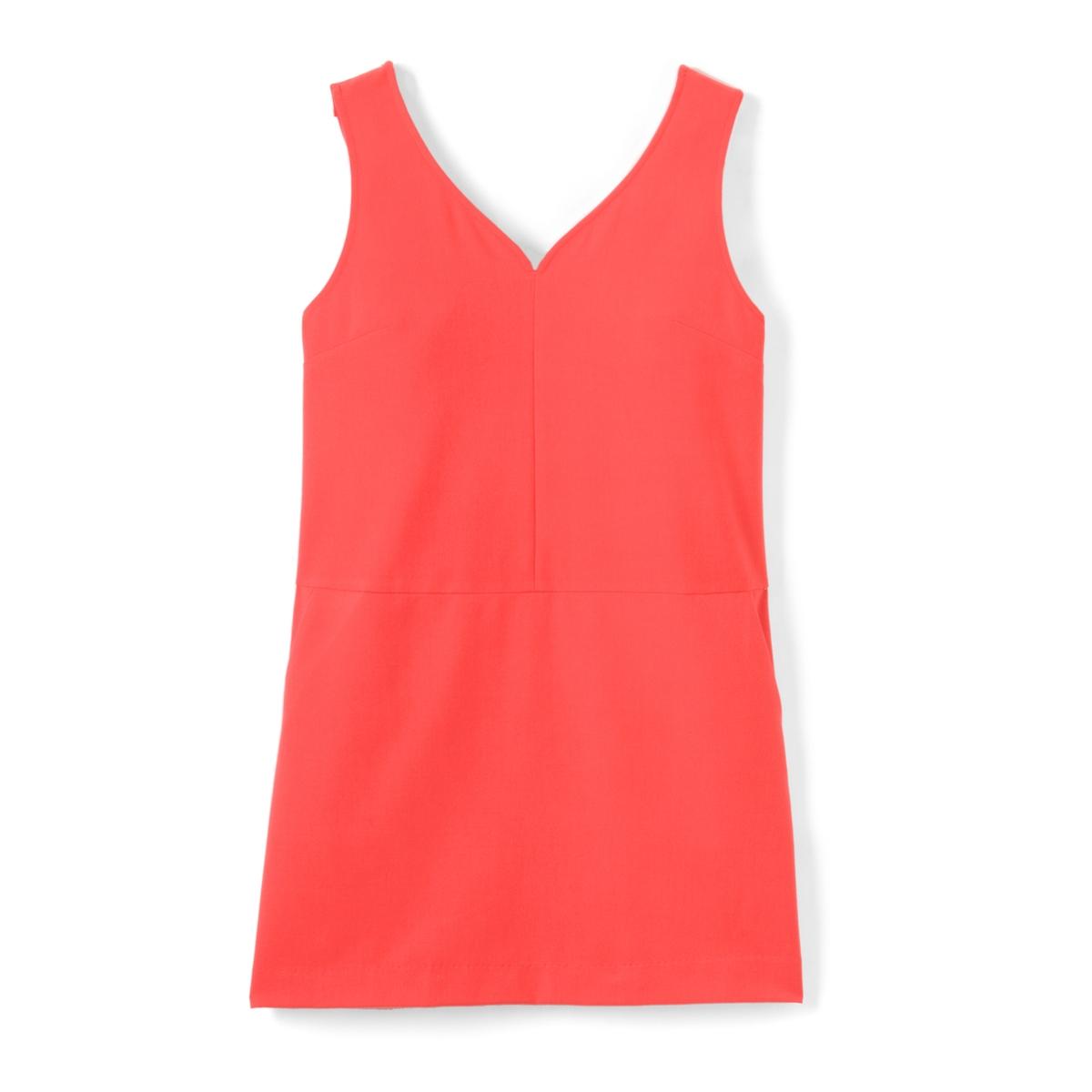 Платье с открытой спинкой с воланамиМатериал : 25% вискозы, 3% эластана, 72% полиэстера  Длина рукава : тонкие бретели  Форма воротника : V-образный вырез Покрой платья : платье прямого покроя  Рисунок : однотонная модель  Особенность платья : глубокий вырез сзади Длина платья : длина до колен<br><br>Цвет: коралловый