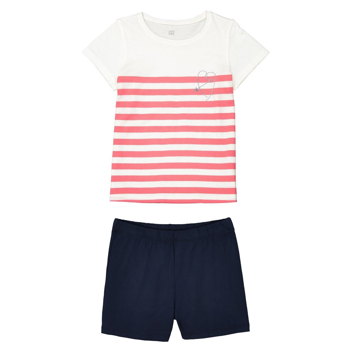 Пижама с шортами с рисунком и короткими рукавами, 3-12 лет пижама с шортами с рисунком 2 12 лет