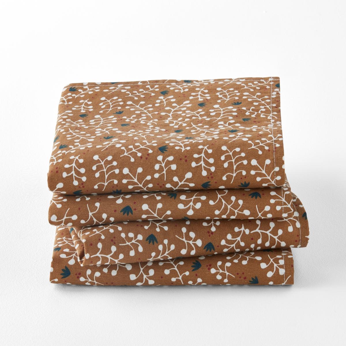 Салфетки с принтом из стиранного льна и хлопка LONIE (4 шт) брюки из лиоцелла и льна
