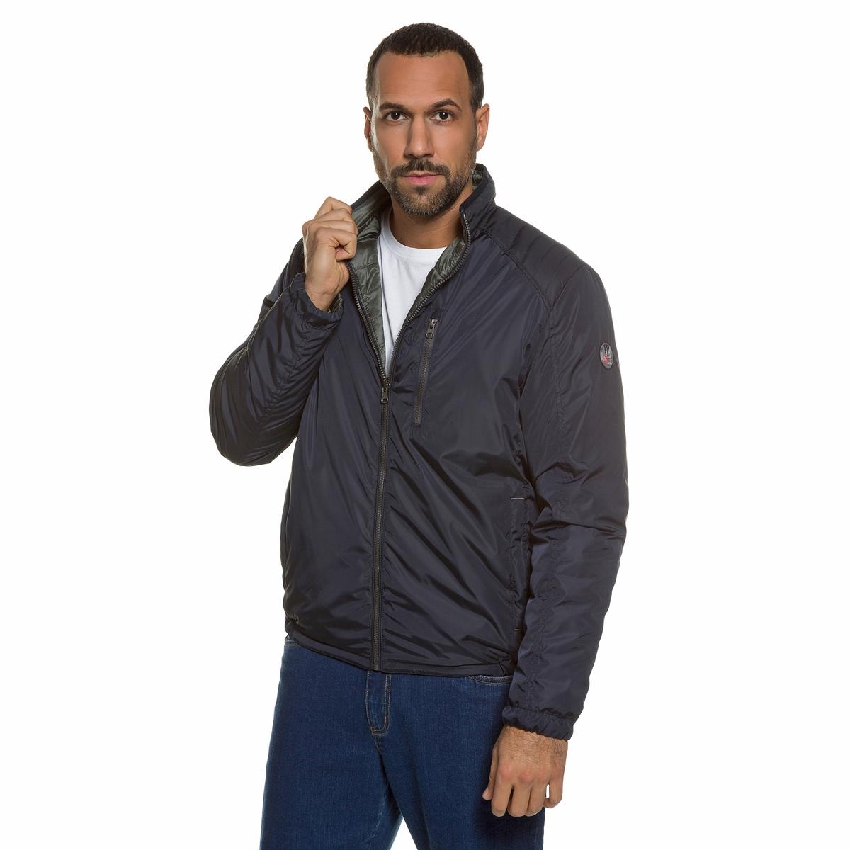 Куртка двусторонняяДвусторонняя куртка JP1880. 100% полиамид.Двусторонняя куртка - 1 сторона гладкая, 1 сторона стеганая.Спортивный стиль, прямой воротник, застежка на молнию, 2 кармана на молнии, края на резинке. Длина в зависимости от размера 70-79,5 см<br><br>Цвет: темно-синий<br>Размер: 7XL.XXL