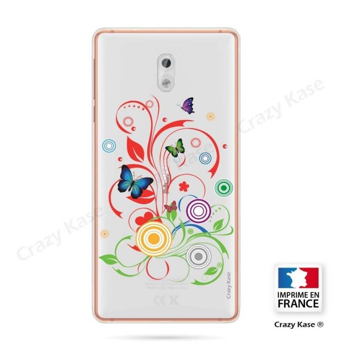 Coque Nokia 3 souple motif Papillons et Cercles - Crazy Kase