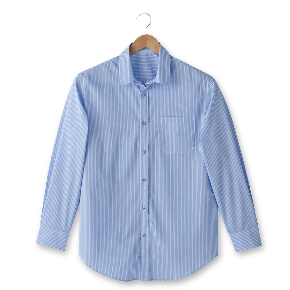 Рубашка из поплина с длинными рукавами, рост 1Рубашка с длинными рукавами, рост 1. 1 накладной нагрудный карман. Складка с полоской ткани на спинке. Из поплина, 100% хлопок. Рост 1 (при росте до 176 см).Рост 1 (при росте до 176 см) : - длина рубашки спереди : 83 см для размера 41/42 и 90 см для размера 55/56.- длина рукавов : 62 см.Данная модель представлена также для роста 2 (при росте 176-187 см) и 3 (при росте от 187 см) и с короткими рукавами.<br><br>Цвет: синяя полоска<br>Размер: 43/44