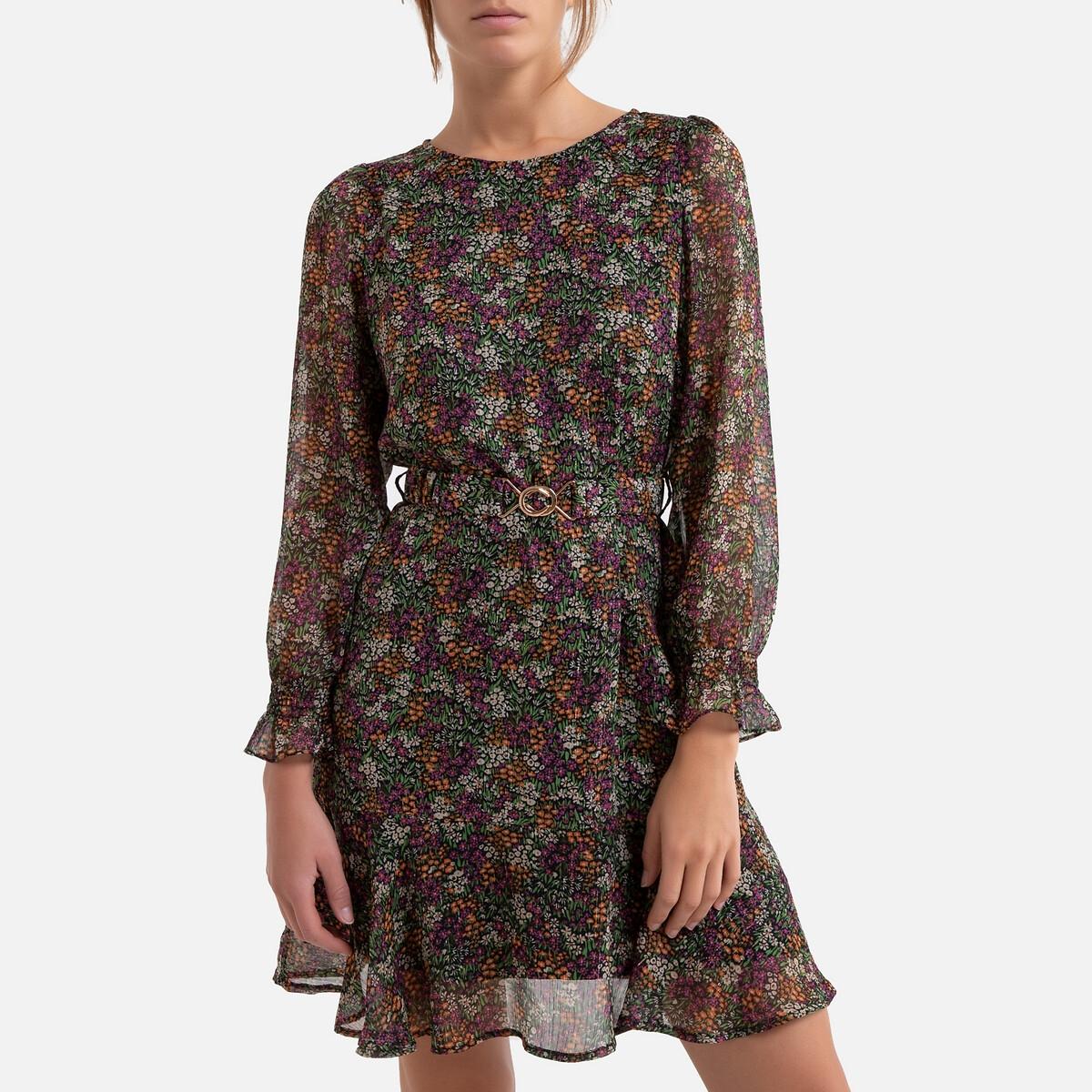 Платье LaRedoute Расклешенное с рисунком укороченное длинные рукава 2(M) разноцветный универсальное платье с рисунком supres